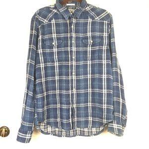 Lucky Brand Blue Snap Western Indigo Shirt